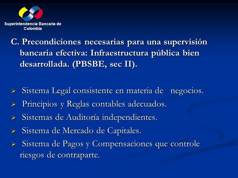 C. Precondiciones necesarias para una supervisión bancaria efectiva: Infraestructura pública bien desarrollada. (PBSBE, sec II). Sistema Legal consist
