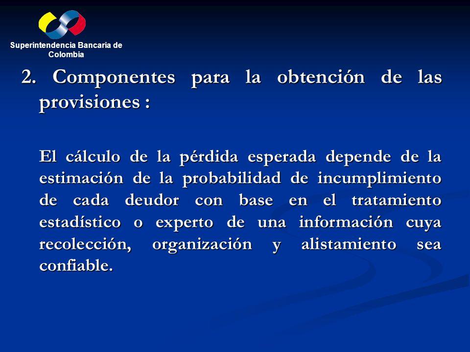 2. Componentes para la obtención de las provisiones : El cálculo de la pérdida esperada depende de la estimación de la probabilidad de incumplimiento