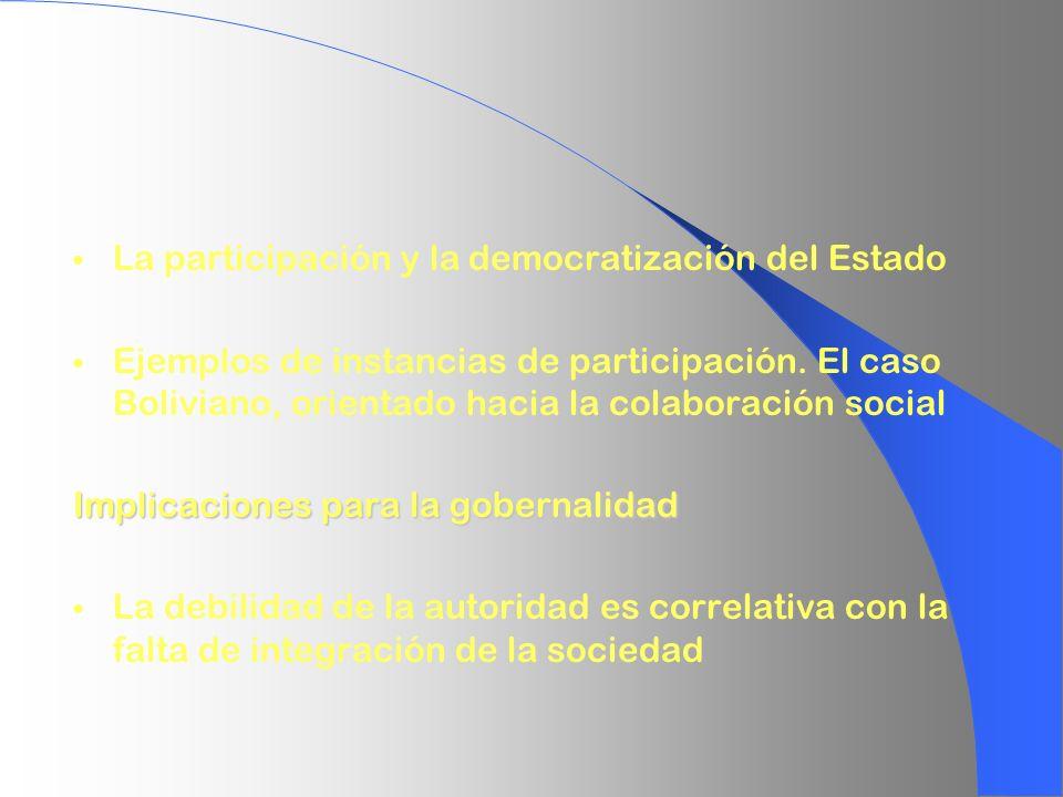 La participación y la democratización del Estado Ejemplos de instancias de participación. El caso Boliviano, orientado hacia la colaboración social Im