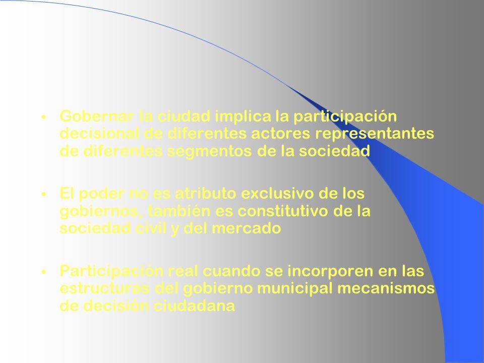 Gobernar la ciudad implica la participación decisional de diferentes actores representantes de diferentes segmentos de la sociedad El poder no es atri