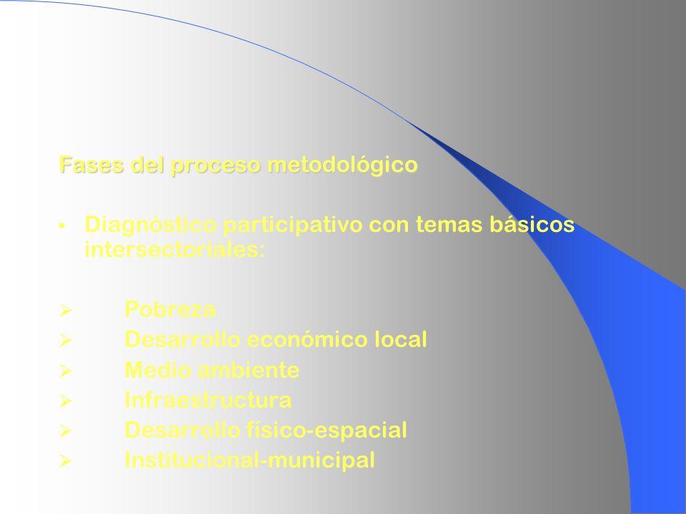 Fases del proceso metodológico Diagnóstico participativo con temas básicos intersectoriales: Pobreza Desarrollo económico local Medio ambiente Infraes