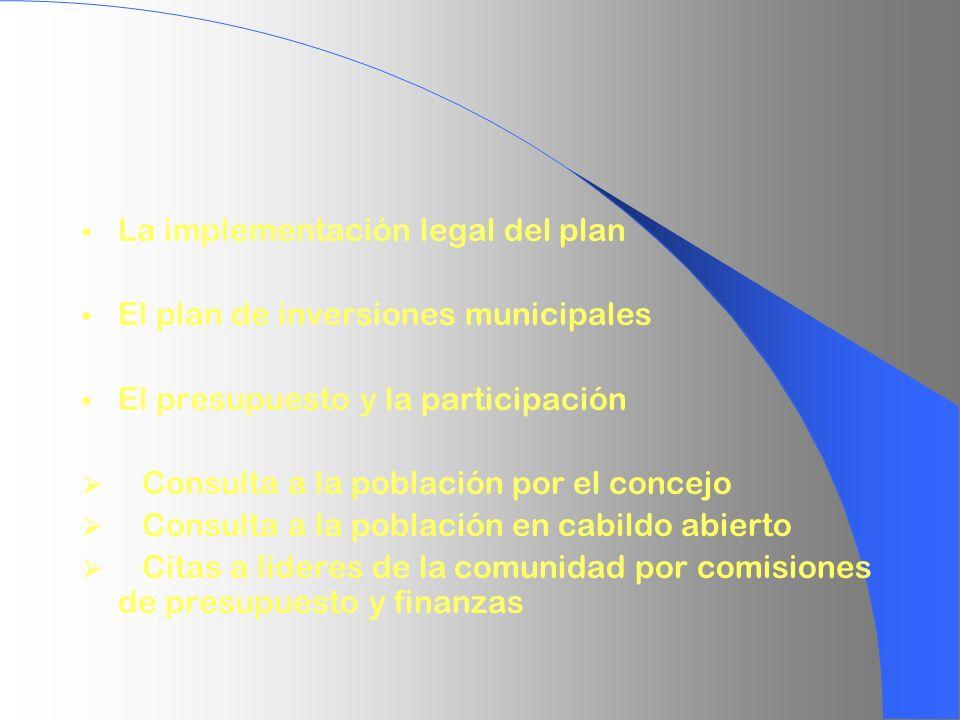 La implementación legal del plan El plan de inversiones municipales El presupuesto y la participación Consulta a la población por el concejo Consulta
