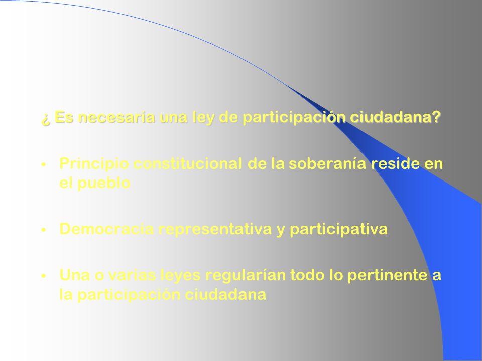 ¿ Es necesaria una ley de participación ciudadana? Principio constitucional de la soberanía reside en el pueblo Democracia representativa y participat