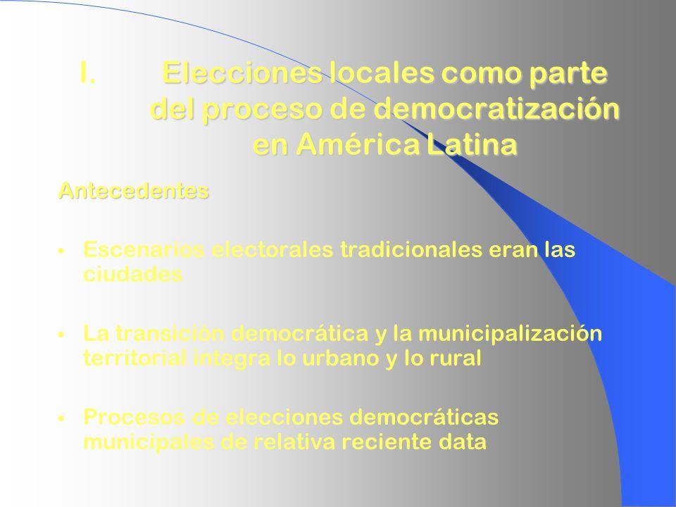 Elecciones locales como parte del proceso de democratización en América Latina I.Elecciones locales como parte del proceso de democratización en Améri
