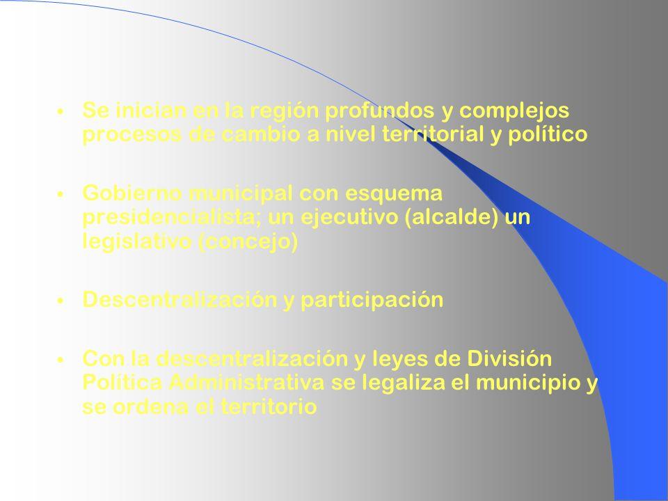 Se inician en la región profundos y complejos procesos de cambio a nivel territorial y político Gobierno municipal con esquema presidencialista; un ej