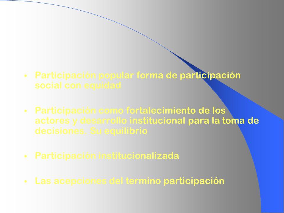 Participación popular forma de participación social con equidad Participación como fortalecimiento de los actores y desarrollo institucional para la t