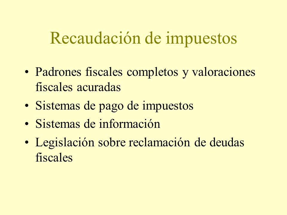 Recaudación de impuestos Padrones fiscales completos y valoraciones fiscales acuradas Sistemas de pago de impuestos Sistemas de información Legislación sobre reclamación de deudas fiscales
