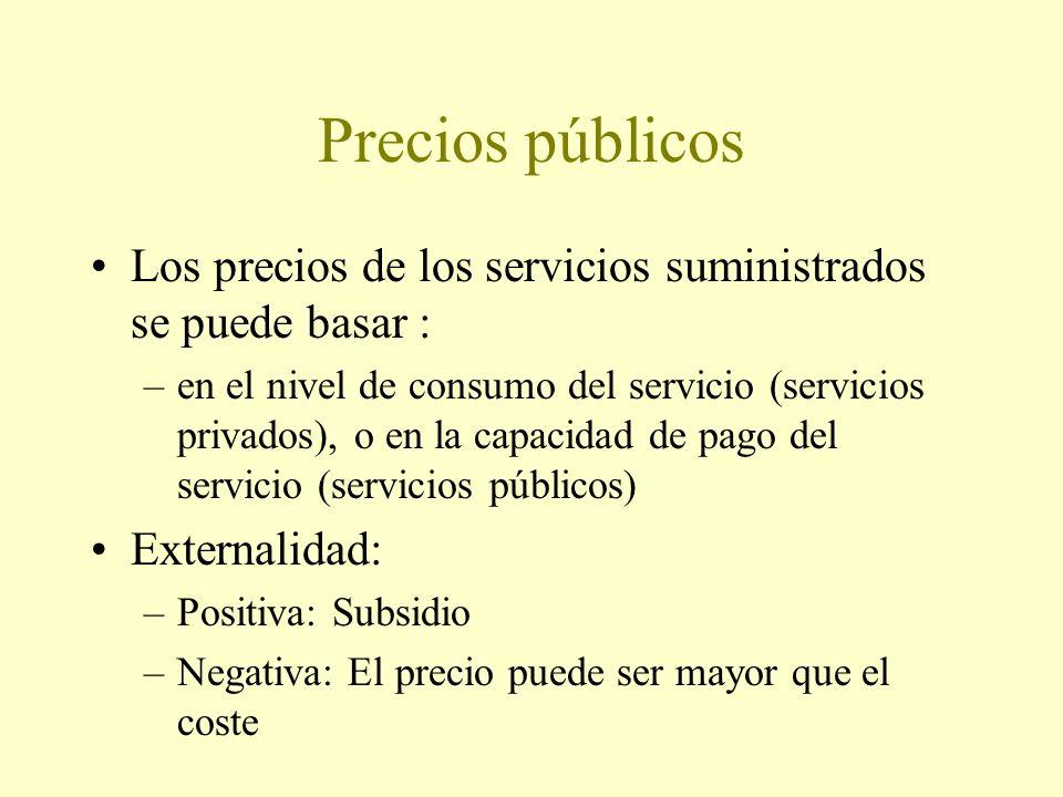 Precios públicos Los precios de los servicios suministrados se puede basar : –en el nivel de consumo del servicio (servicios privados), o en la capacidad de pago del servicio (servicios públicos) Externalidad: –Positiva: Subsidio –Negativa: El precio puede ser mayor que el coste