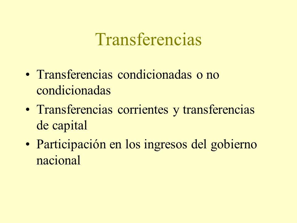Transferencias Transferencias condicionadas o no condicionadas Transferencias corrientes y transferencias de capital Participación en los ingresos del gobierno nacional