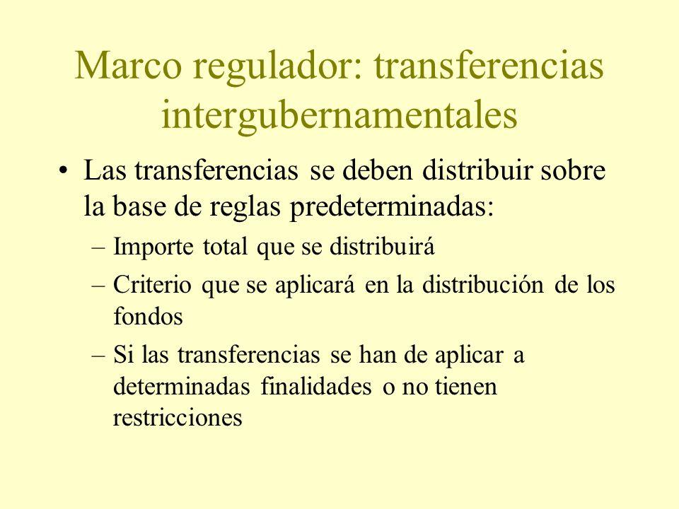 Marco regulador: transferencias intergubernamentales Las transferencias se deben distribuir sobre la base de reglas predeterminadas: –Importe total que se distribuirá –Criterio que se aplicará en la distribución de los fondos –Si las transferencias se han de aplicar a determinadas finalidades o no tienen restricciones