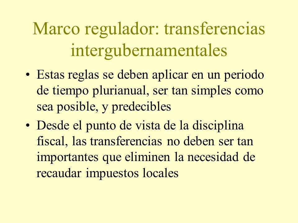 Marco regulador: transferencias intergubernamentales Estas reglas se deben aplicar en un periodo de tiempo plurianual, ser tan simples como sea posible, y predecibles Desde el punto de vista de la disciplina fiscal, las transferencias no deben ser tan importantes que eliminen la necesidad de recaudar impuestos locales