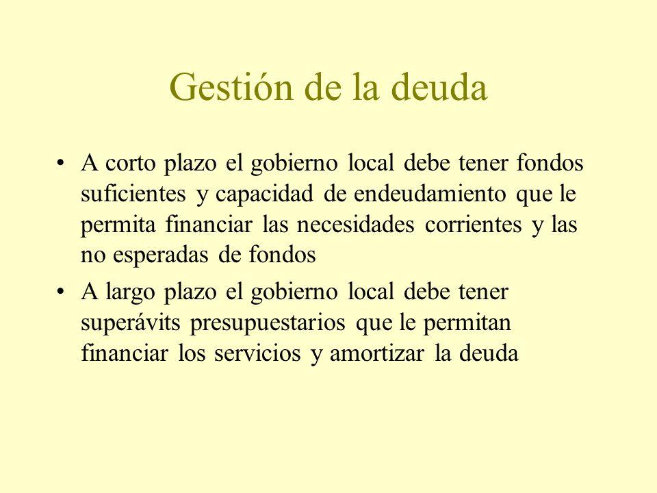 Gestión de la deuda A corto plazo el gobierno local debe tener fondos suficientes y capacidad de endeudamiento que le permita financiar las necesidades corrientes y las no esperadas de fondos A largo plazo el gobierno local debe tener superávits presupuestarios que le permitan financiar los servicios y amortizar la deuda