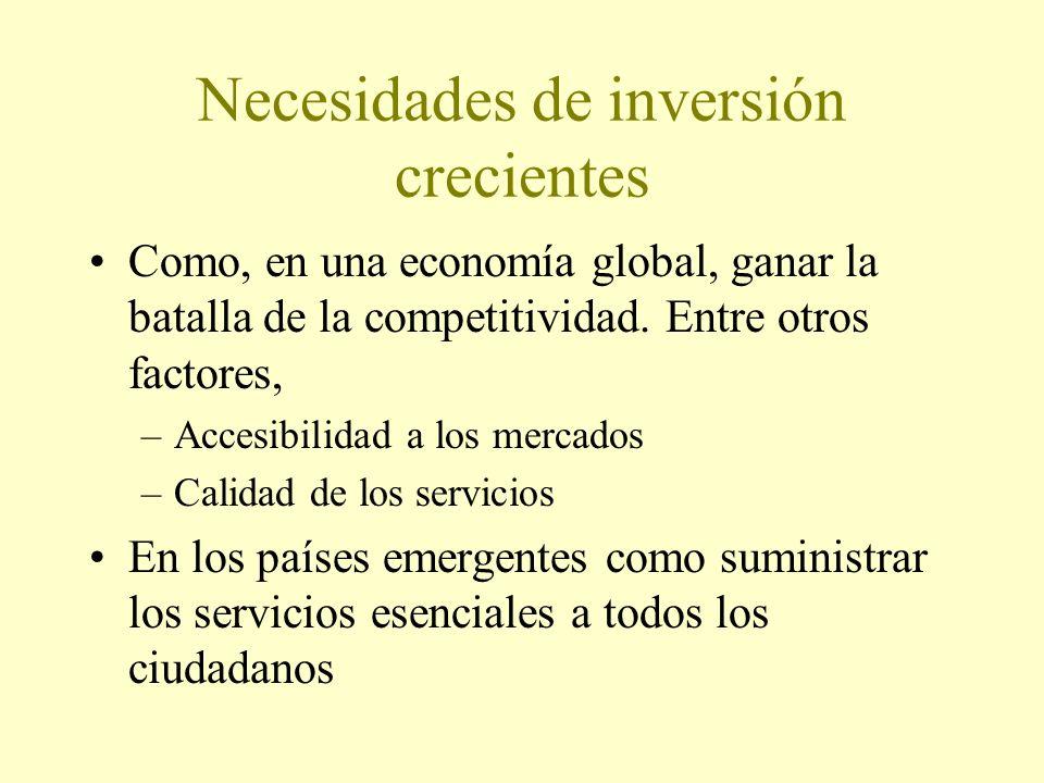 Necesidades de inversión crecientes Como, en una economía global, ganar la batalla de la competitividad.