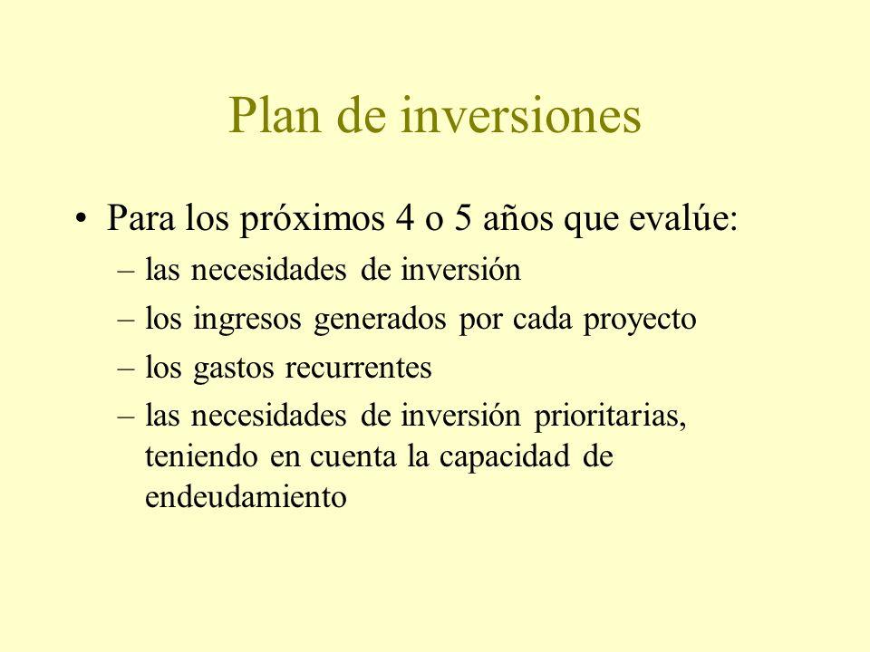 Plan de inversiones Para los próximos 4 o 5 años que evalúe: –las necesidades de inversión –los ingresos generados por cada proyecto –los gastos recurrentes –las necesidades de inversión prioritarias, teniendo en cuenta la capacidad de endeudamiento