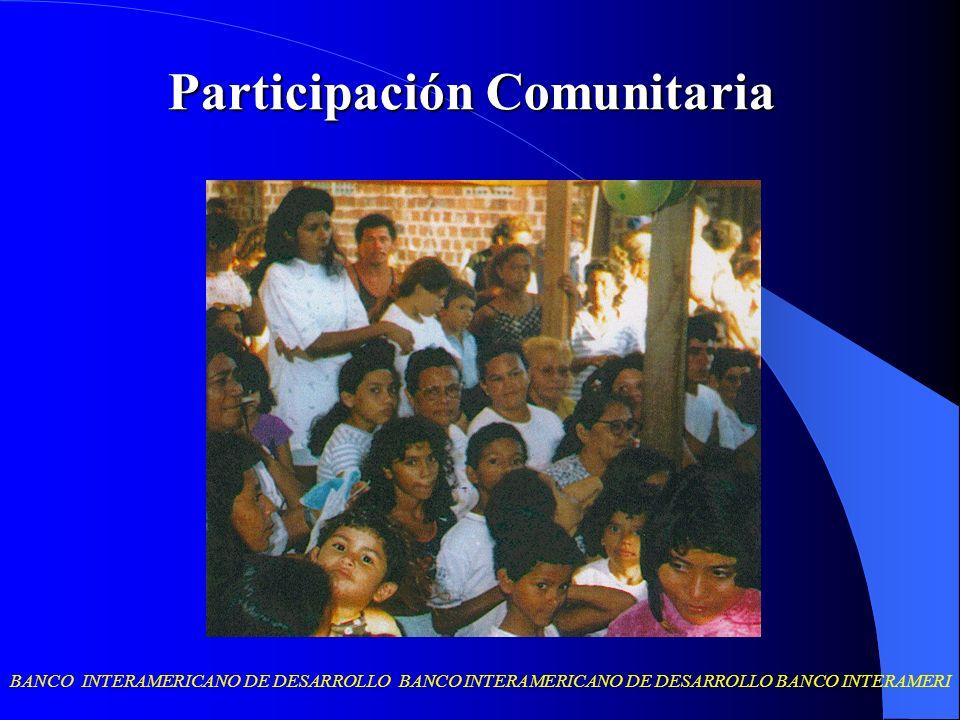 BANCO INTERAMERICANO DE DESARROLLO BANCO INTERAMERICANO DE DESARROLLO BANCO INTERAMERI Participación Comunitaria