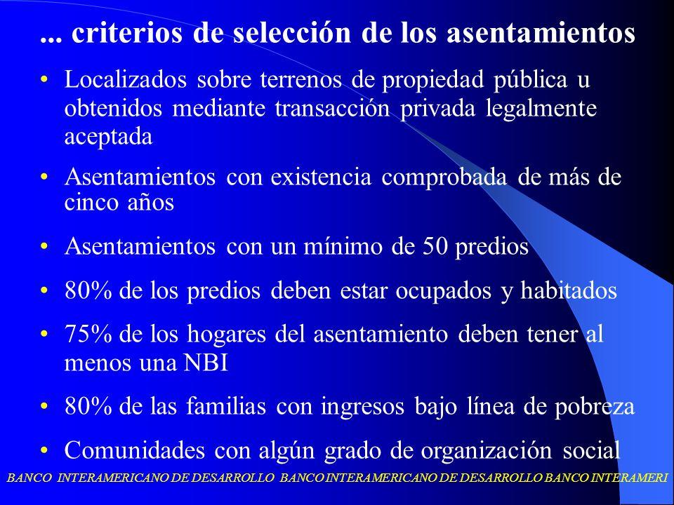 BANCO INTERAMERICANO DE DESARROLLO BANCO INTERAMERICANO DE DESARROLLO BANCO INTERAMERI... criterios de selección de los asentamientos Localizados sobr