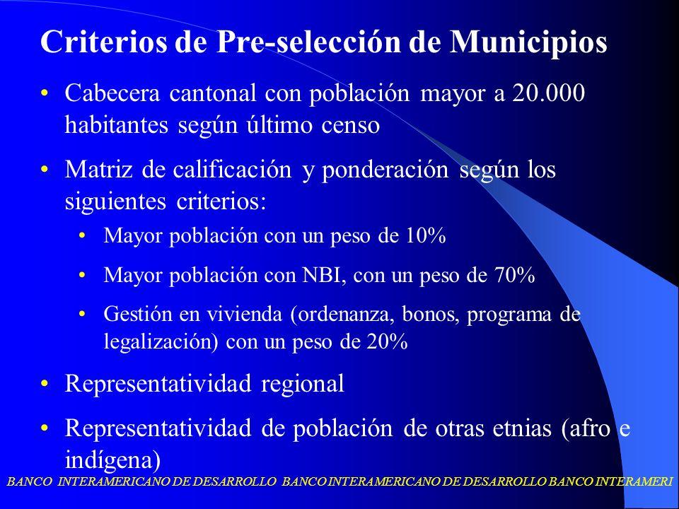 BANCO INTERAMERICANO DE DESARROLLO BANCO INTERAMERICANO DE DESARROLLO BANCO INTERAMERI Criterios de Pre-selección de Municipios Cabecera cantonal con