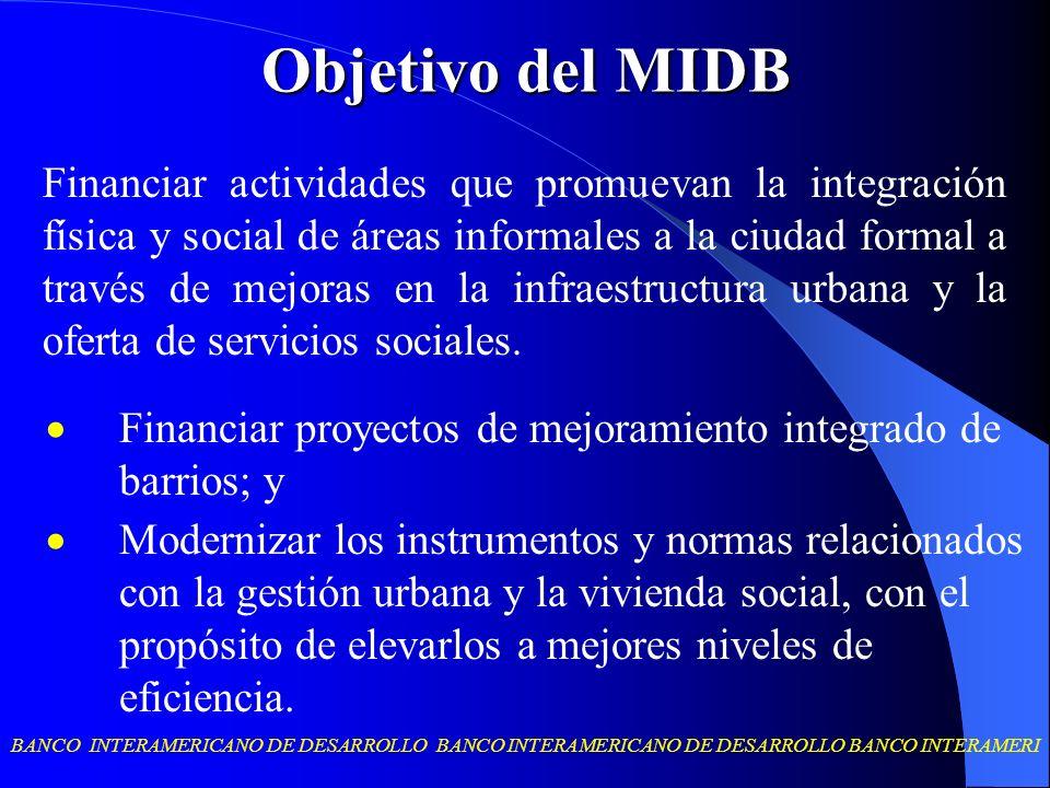 BANCO INTERAMERICANO DE DESARROLLO BANCO INTERAMERICANO DE DESARROLLO BANCO INTERAMERI Objetivo del MIDB Financiar proyectos de mejoramiento integrado