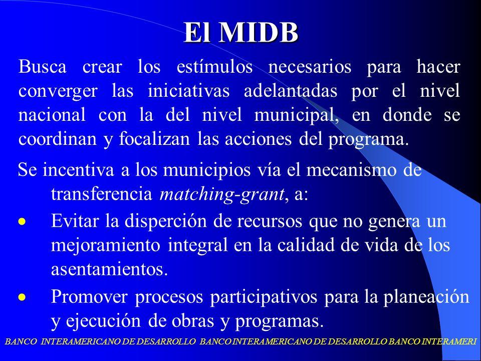 BANCO INTERAMERICANO DE DESARROLLO BANCO INTERAMERICANO DE DESARROLLO BANCO INTERAMERI El MIDB Se incentiva a los municipios vía el mecanismo de trans