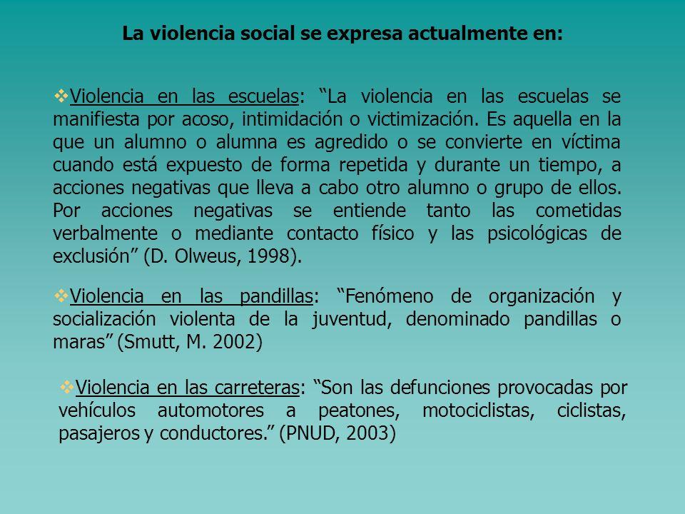 La violencia social, es un concepto problemático cuando se trata de delimitar su naturaleza y los tipos de delito que van incluidos dentro de ella. Es