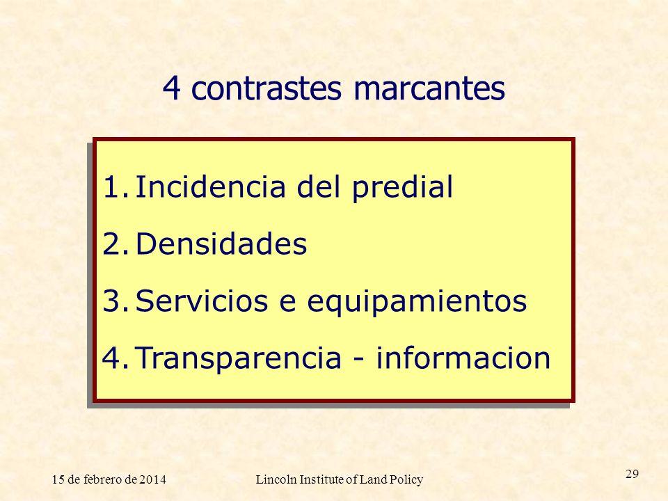 15 de febrero de 2014Lincoln Institute of Land Policy 29 4 contrastes marcantes 1.Incidencia del predial 2.Densidades 3.Servicios e equipamientos 4.Tr