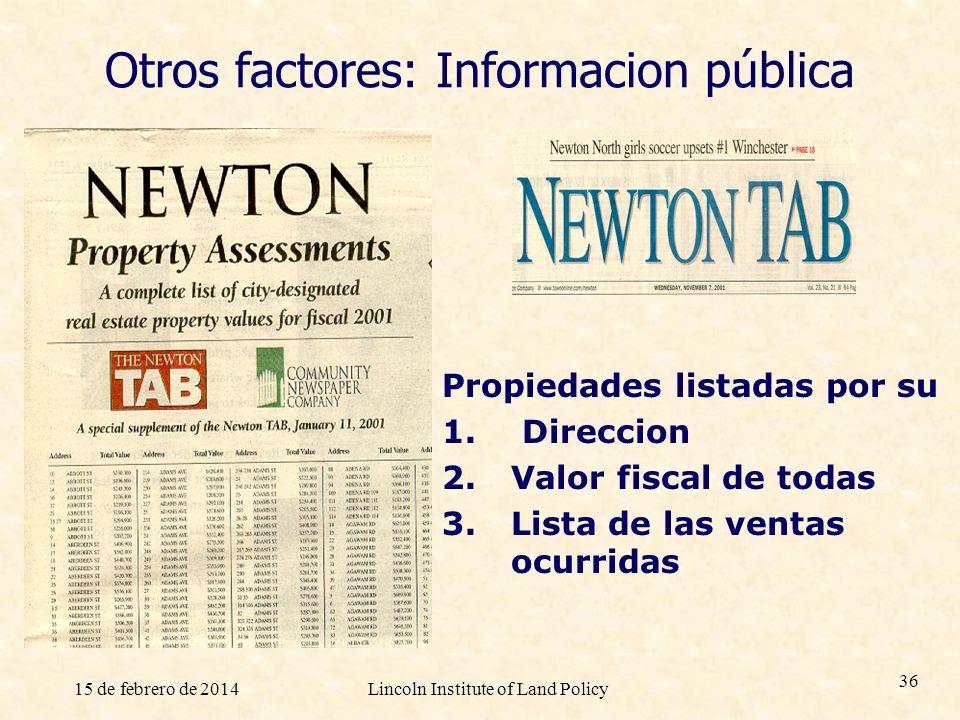 15 de febrero de 2014Lincoln Institute of Land Policy 36 Otros factores: Informacion pública Propiedades listadas por su 1. Direccion 2. Valor fiscal