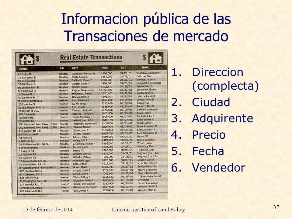 15 de febrero de 2014Lincoln Institute of Land Policy 37 Informacion pública de las Transaciones de mercado 1. Direccion (complecta) 2. Ciudad 3. Adqu