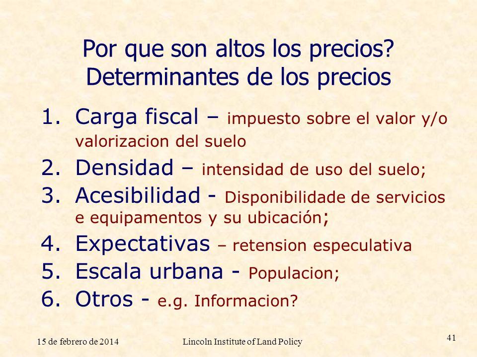 15 de febrero de 2014Lincoln Institute of Land Policy 41 Por que son altos los precios? Determinantes de los precios 1.Carga fiscal – impuesto sobre e