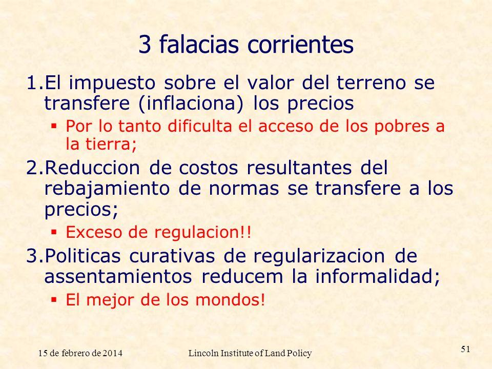 15 de febrero de 2014Lincoln Institute of Land Policy 51 3 falacias corrientes 1.El impuesto sobre el valor del terreno se transfere (inflaciona) los
