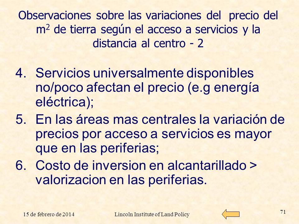 15 de febrero de 2014Lincoln Institute of Land Policy 71 Observaciones sobre las variaciones del precio del m 2 de tierra según el acceso a servicios
