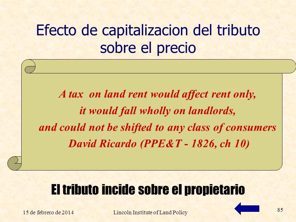 15 de febrero de 2014Lincoln Institute of Land Policy 85 Efecto de capitalizacion del tributo sobre el precio El tributo incide sobre el propietario A
