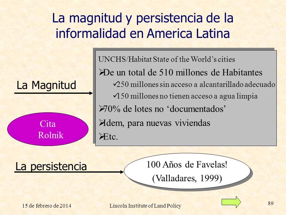 15 de febrero de 2014Lincoln Institute of Land Policy 89 La magnitud y persistencia de la informalidad en America Latina 100 Años de Favelas! (Vallada