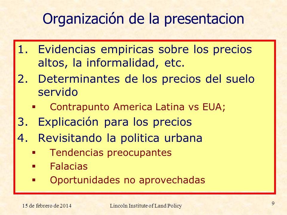 15 de febrero de 2014Lincoln Institute of Land Policy 9 Organización de la presentacion 1.Evidencias empiricas sobre los precios altos, la informalida