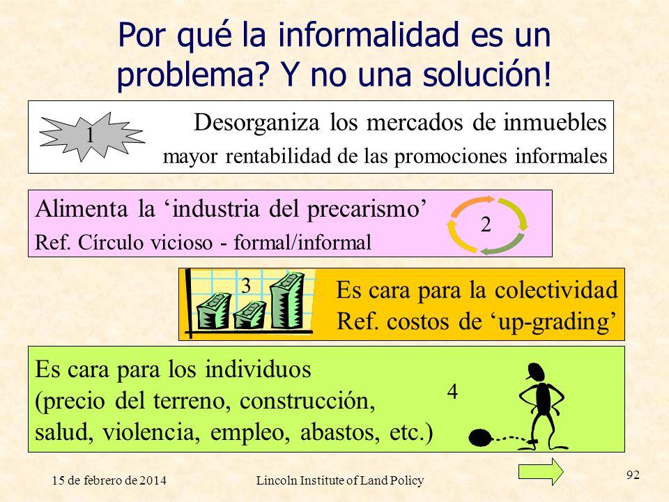 15 de febrero de 2014Lincoln Institute of Land Policy 92 Por qué la informalidad es un problema? Y no una solución! Es cara para la colectividad Ref.