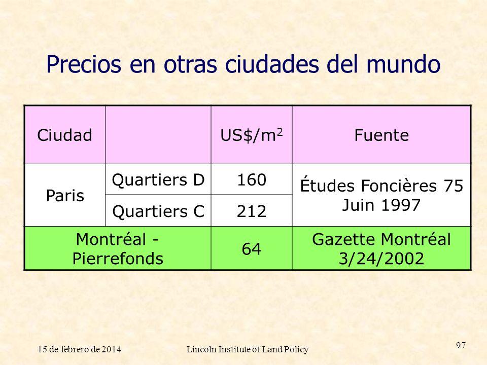 15 de febrero de 2014Lincoln Institute of Land Policy 97 Precios en otras ciudades del mundo CiudadUS$/m 2 Fuente Paris Quartiers D160 Études Foncière