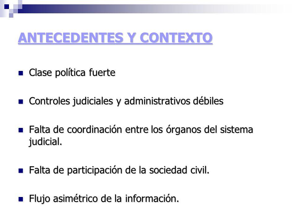 ANTECEDENTES Y CONTEXTO Clase política fuerte Clase política fuerte Controles judiciales y administrativos débiles Controles judiciales y administrativos débiles Falta de coordinación entre los órganos del sistema judicial.