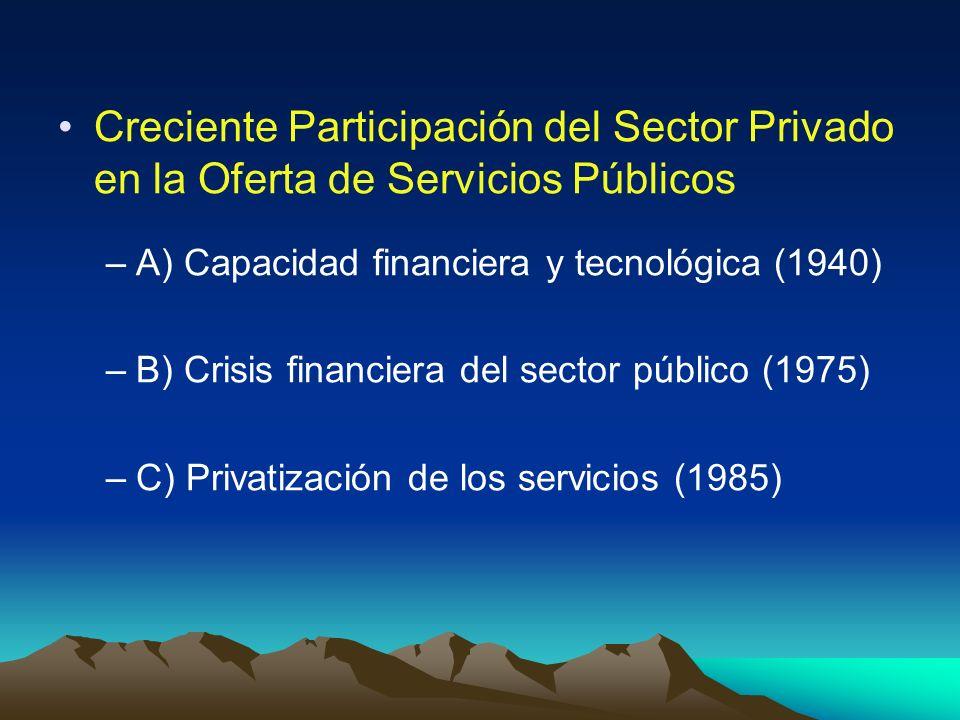 Creciente Participación del Sector Privado en la Oferta de Servicios Públicos –A) Capacidad financiera y tecnológica (1940) –B) Crisis financiera del
