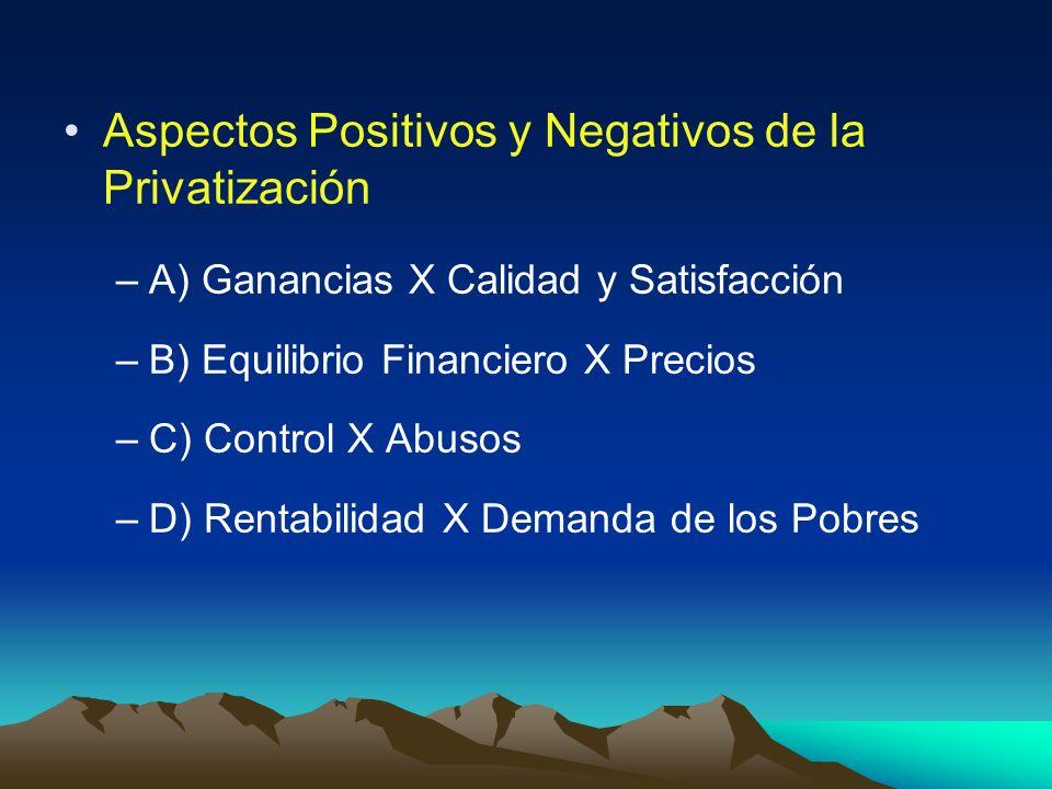 Aspectos Positivos y Negativos de la Privatización –A) Ganancias X Calidad y Satisfacción –B) Equilibrio Financiero X Precios –C) Control X Abusos –D)
