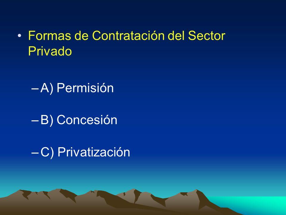 Formas de Contratación del Sector Privado –A) Permisión –B) Concesión –C) Privatización