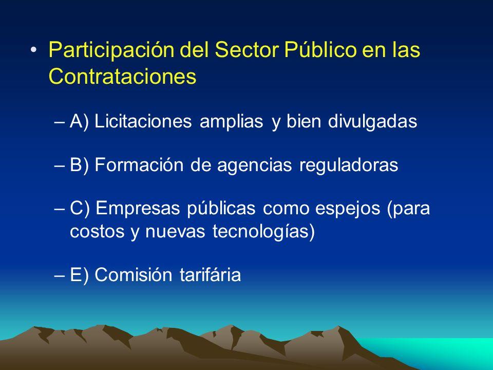 Participación del Sector Público en las Contrataciones –A) Licitaciones amplias y bien divulgadas –B) Formación de agencias reguladoras –C) Empresas p