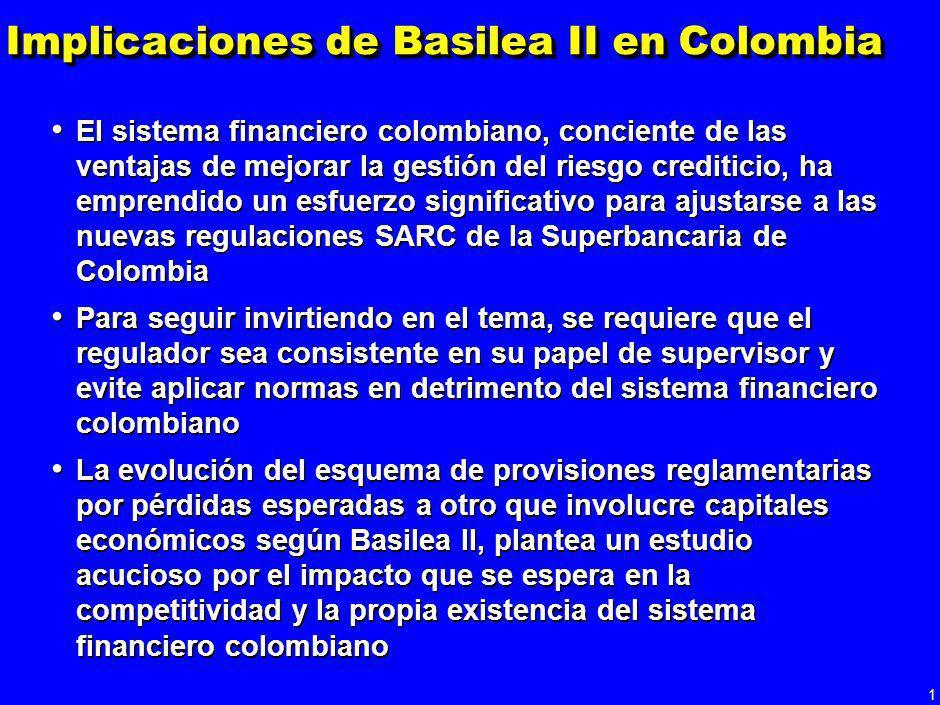 1 Implicaciones de Basilea II en Colombia El sistema financiero colombiano, conciente de las ventajas de mejorar la gestión del riesgo crediticio, ha emprendido un esfuerzo significativo para ajustarse a las nuevas regulaciones SARC de la Superbancaria de Colombia Para seguir invirtiendo en el tema, se requiere que el regulador sea consistente en su papel de supervisor y evite aplicar normas en detrimento del sistema financiero colombiano La evolución del esquema de provisiones reglamentarias por pérdidas esperadas a otro que involucre capitales económicos según Basilea II, plantea un estudio acucioso por el impacto que se espera en la competitividad y la propia existencia del sistema financiero colombiano