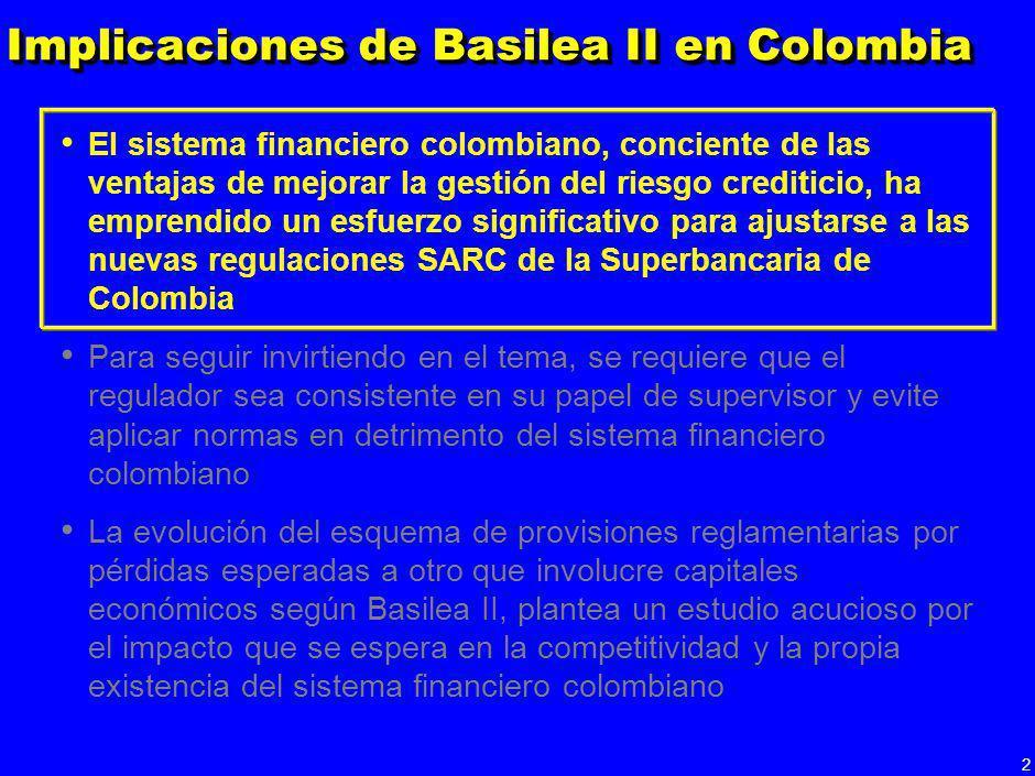 1 Implicaciones de Basilea II en Colombia El sistema financiero colombiano, conciente de las ventajas de mejorar la gestión del riesgo crediticio, ha
