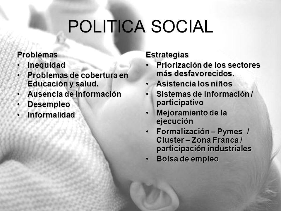 POLITICA SOCIAL Problemas InequidadInequidad Problemas de cobertura en Educación y salud.Problemas de cobertura en Educación y salud. Ausencia de Info
