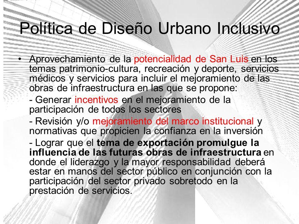 Política de Diseño Urbano Inclusivo Aprovechamiento de la potencialidad de San Luis en los temas patrimonio-cultura, recreación y deporte, servicios m