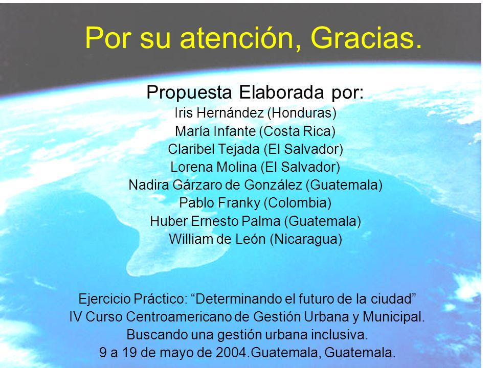 Por su atención, Gracias. Ejercicio Práctico: Determinando el futuro de la ciudad IV Curso Centroamericano de Gestión Urbana y Municipal. Buscando una