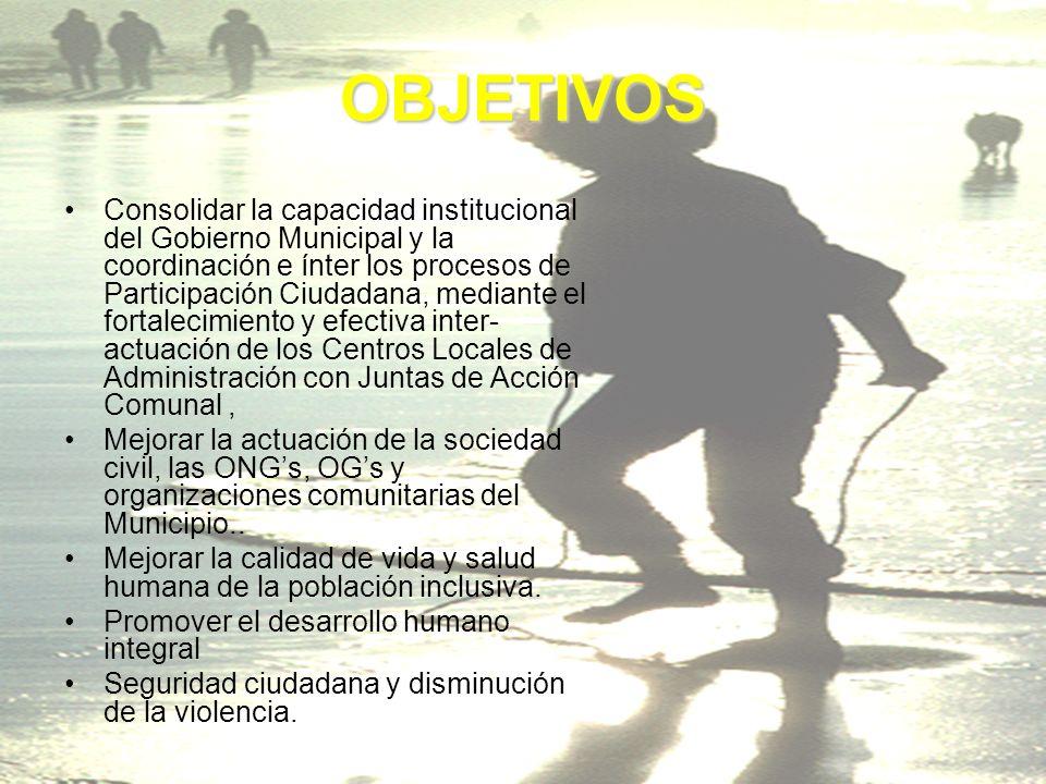 OBJETIVOS Consolidar la capacidad institucional del Gobierno Municipal y la coordinación e ínter los procesos de Participación Ciudadana, mediante el fortalecimiento y efectiva inter- actuación de los Centros Locales de Administración con Juntas de Acción Comunal, Mejorar la actuación de la sociedad civil, las ONGs, OGs y organizaciones comunitarias del Municipio..