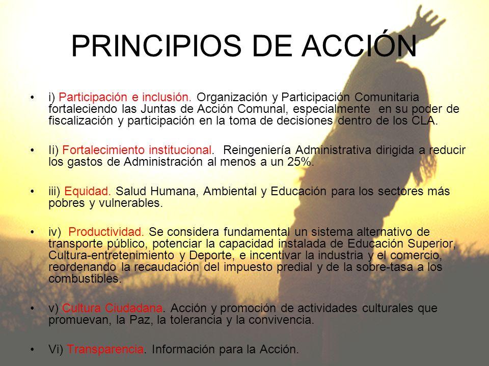 PRINCIPIOS DE ACCIÓN i) Participación e inclusión. Organización y Participación Comunitaria fortaleciendo las Juntas de Acción Comunal, especialmente
