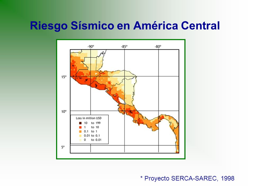 Riesgo Sísmico en América Central * Proyecto SERCA-SAREC, 1998