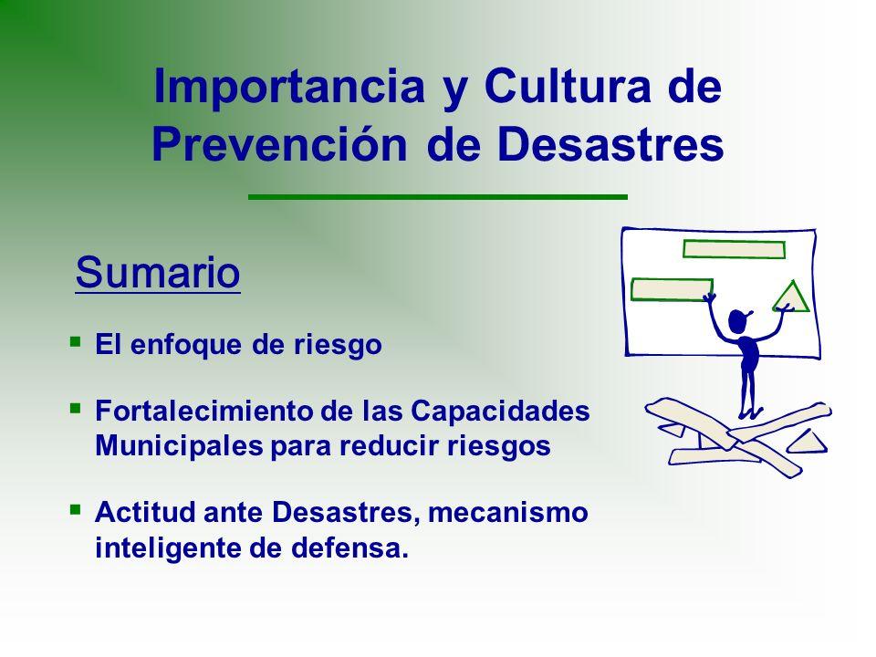 Importancia y Cultura de Prevención de Desastres El enfoque de riesgo Fortalecimiento de las Capacidades Municipales para reducir riesgos Actitud ante