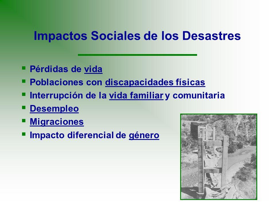 Impactos Sociales de los Desastres Pérdidas de vida Poblaciones con discapacidades físicas Interrupción de la vida familiar y comunitaria Desempleo Mi